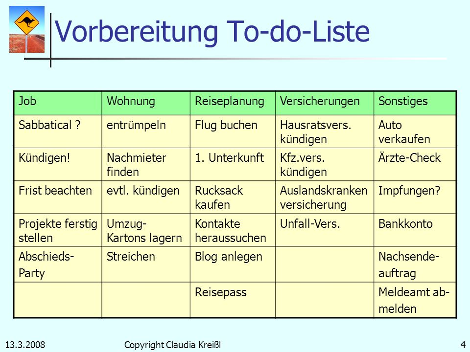 Vorbereitung To-do-Liste