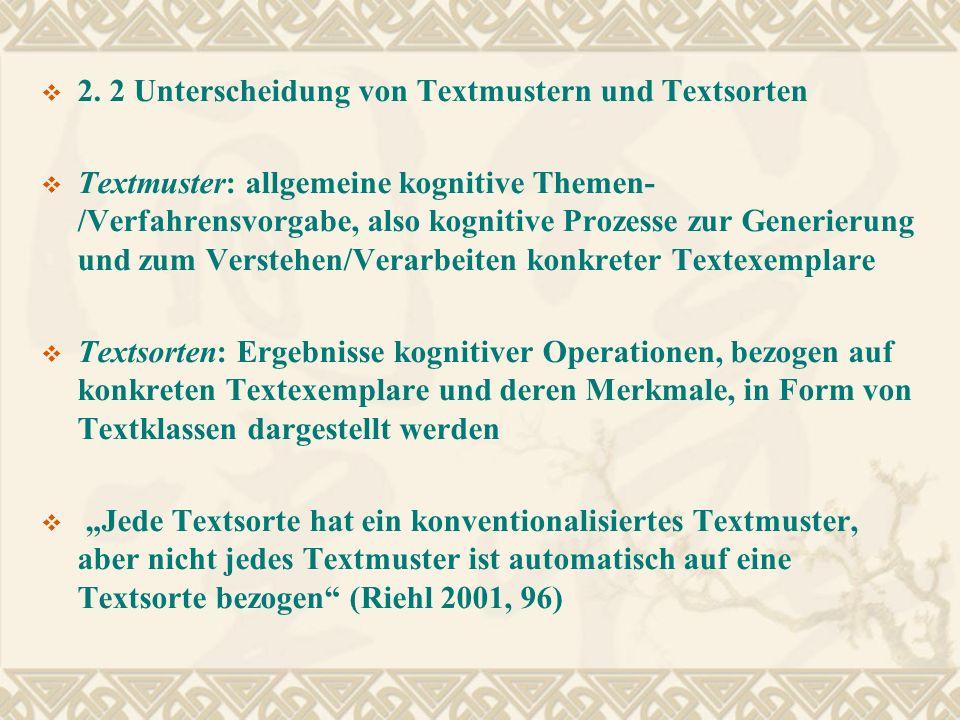 2. 2 Unterscheidung von Textmustern und Textsorten