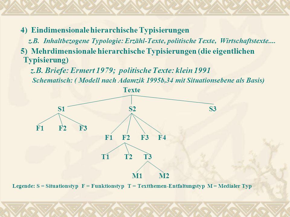 4) Eindimensionale hierarchische Typisierungen