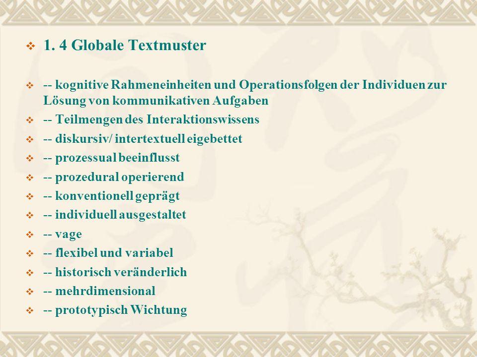 1. 4 Globale Textmuster -- kognitive Rahmeneinheiten und Operationsfolgen der Individuen zur Lösung von kommunikativen Aufgaben.