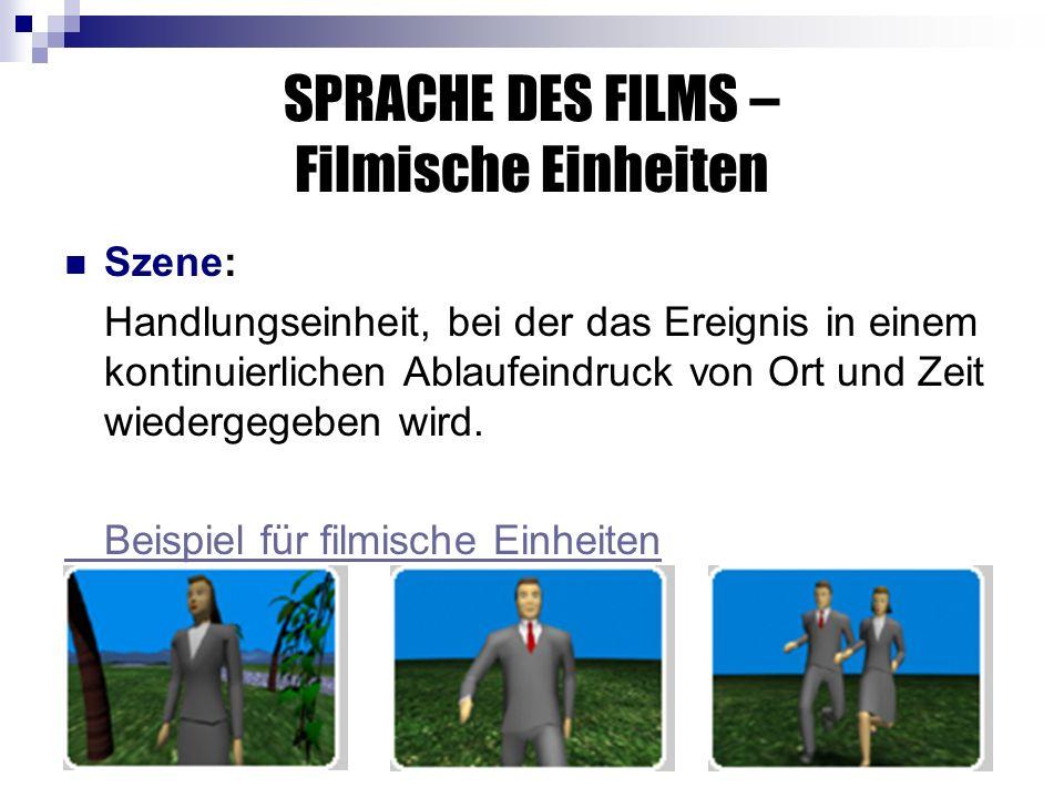 SPRACHE DES FILMS – Filmische Einheiten