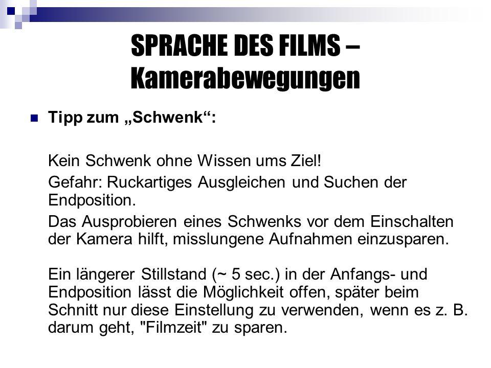 SPRACHE DES FILMS – Kamerabewegungen