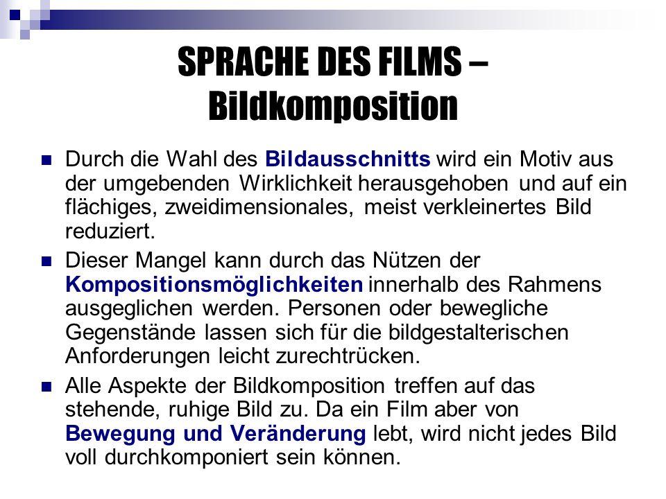 SPRACHE DES FILMS – Bildkomposition