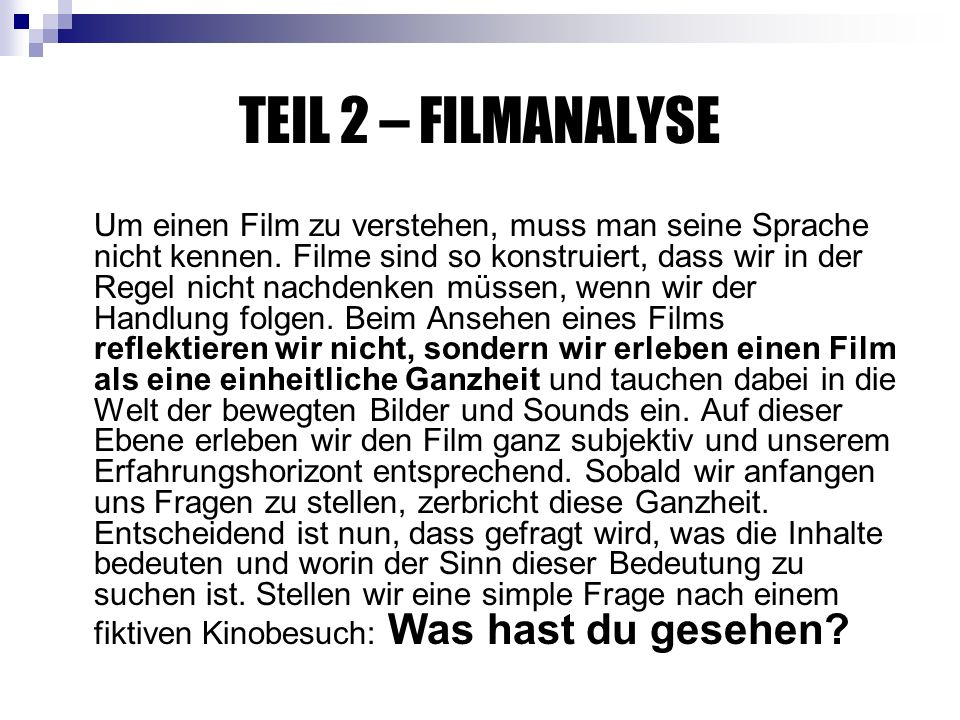 TEIL 2 – FILMANALYSE