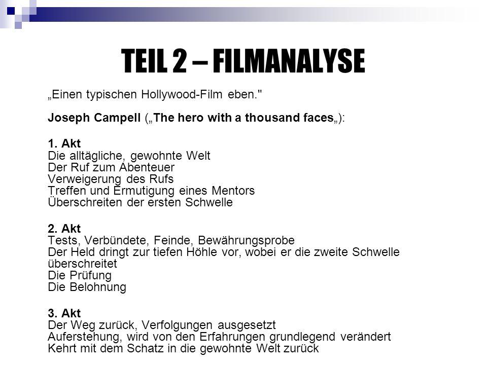"TEIL 2 – FILMANALYSE ""Einen typischen Hollywood-Film eben. Joseph Campell (""The hero with a thousand faces""):"