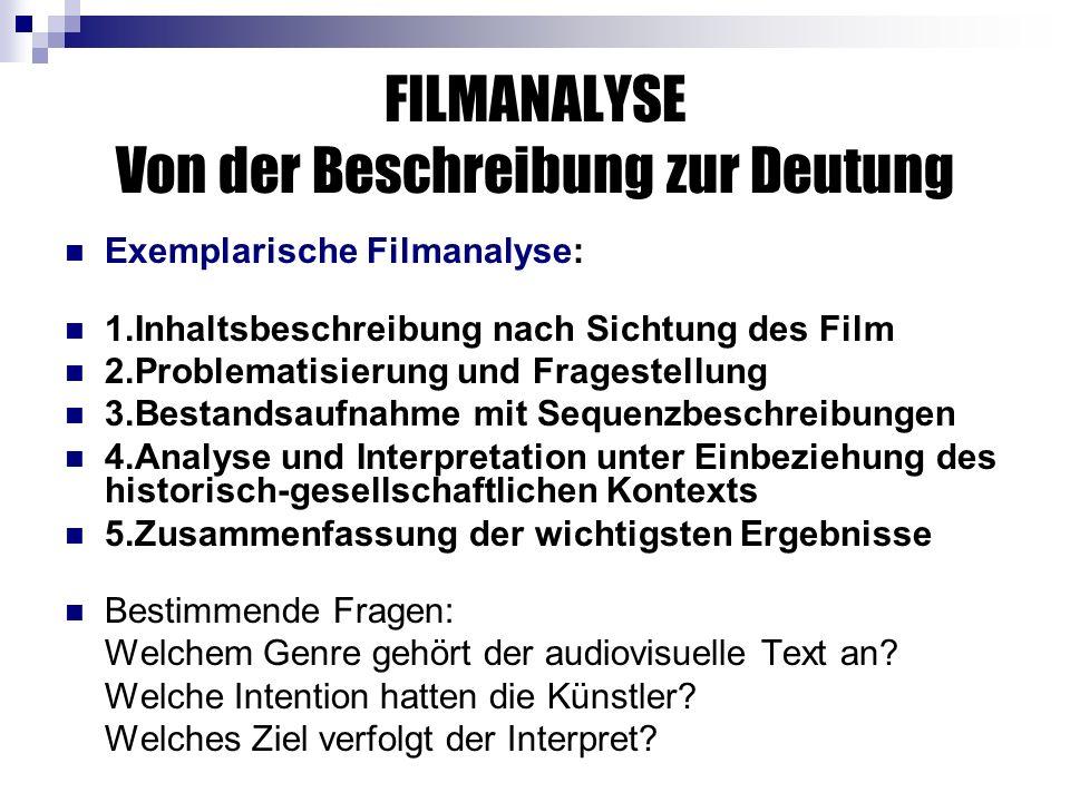 FILMANALYSE Von der Beschreibung zur Deutung