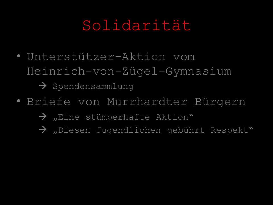 Solidarität Unterstützer-Aktion vom Heinrich-von-Zügel-Gymnasium