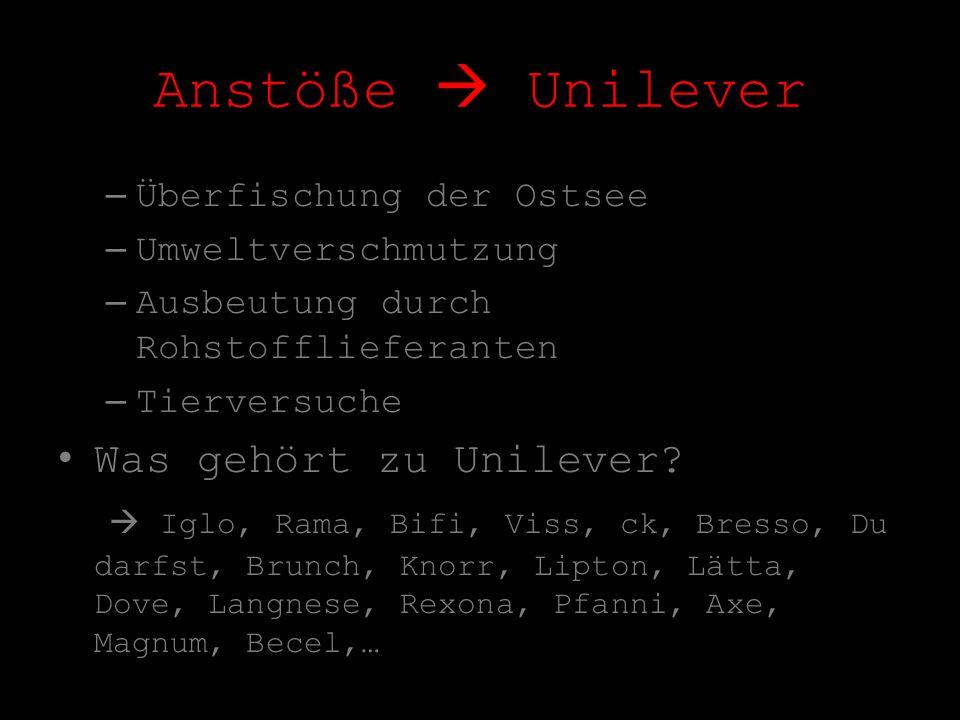Anstöße  Unilever Was gehört zu Unilever