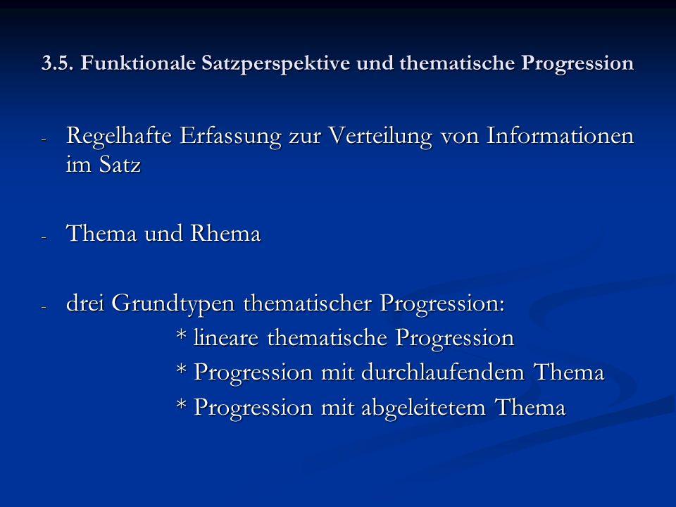 3.5. Funktionale Satzperspektive und thematische Progression