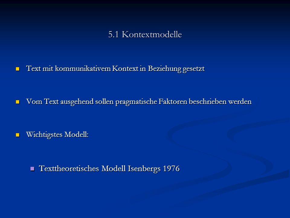 5.1 Kontextmodelle Texttheoretisches Modell Isenbergs 1976