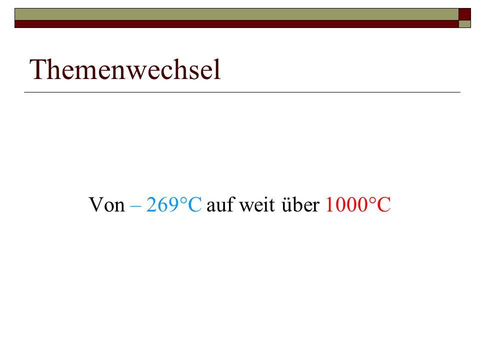 Themenwechsel Von – 269°C auf weit über 1000°C