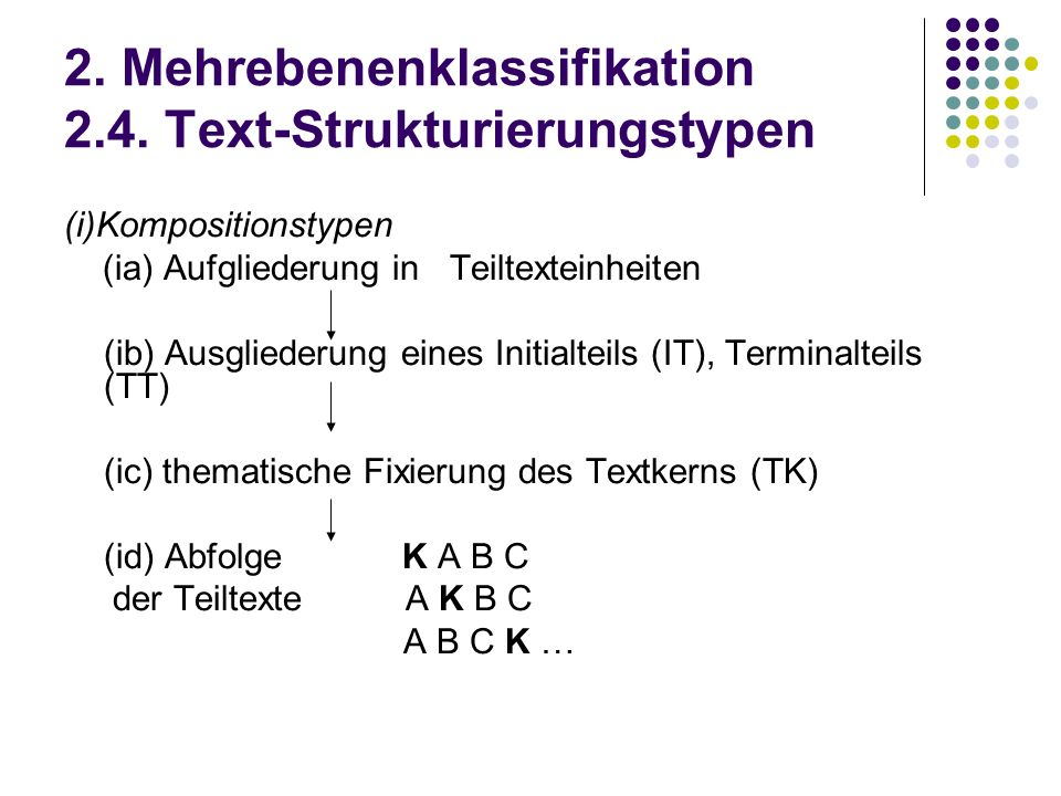 2. Mehrebenenklassifikation 2.4. Text-Strukturierungstypen