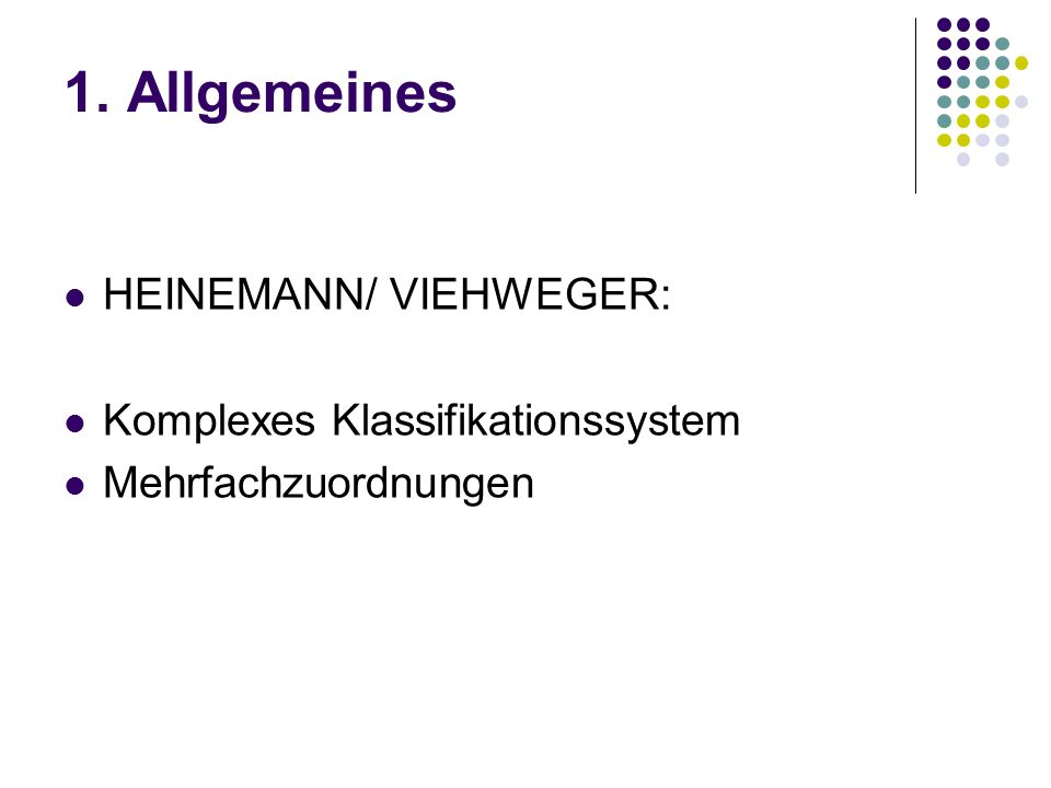 1. Allgemeines HEINEMANN/ VIEHWEGER: Komplexes Klassifikationssystem