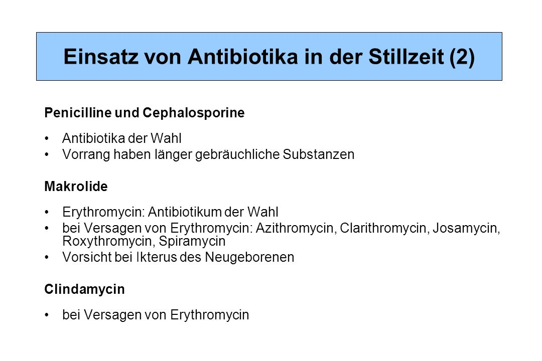 Einsatz von Antibiotika in der Stillzeit (2)