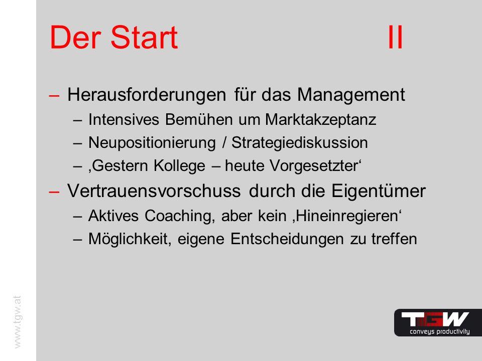 Der Start II Herausforderungen für das Management