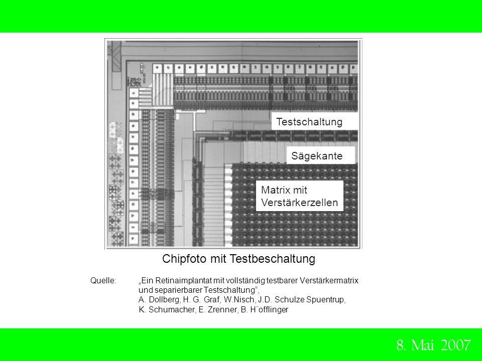 8. Mai 2007 Chipfoto mit Testbeschaltung Testschaltung Sägekante