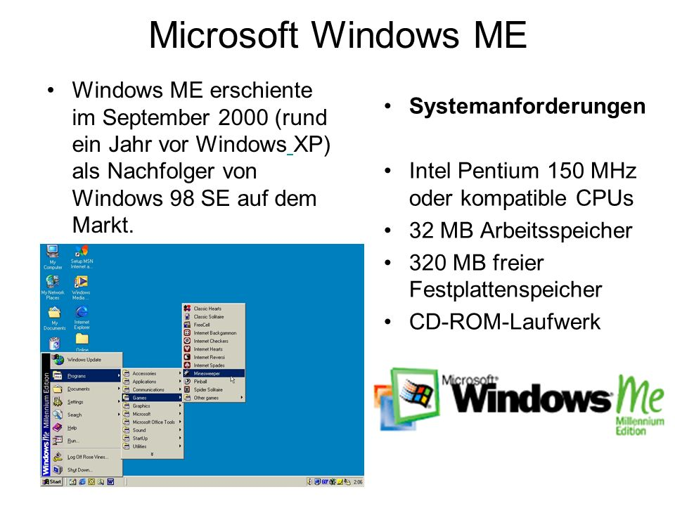 Microsoft Windows ME Windows ME erschiente im September 2000 (rund ein Jahr vor Windows XP) als Nachfolger von Windows 98 SE auf dem Markt.