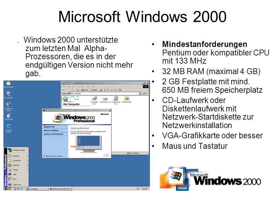 Microsoft Windows 2000 . Windows 2000 unterstützte zum letzten Mal Alpha-Prozessoren, die es in der endgültigen Version nicht mehr gab.