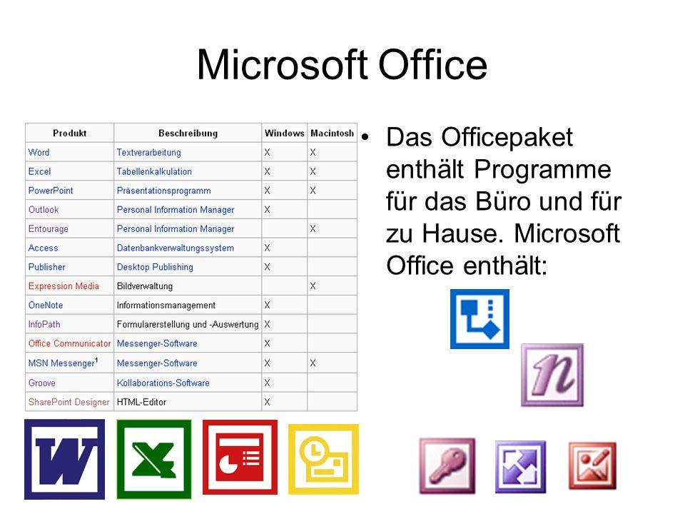 Microsoft Office Das Officepaket enthält Programme für das Büro und für zu Hause.