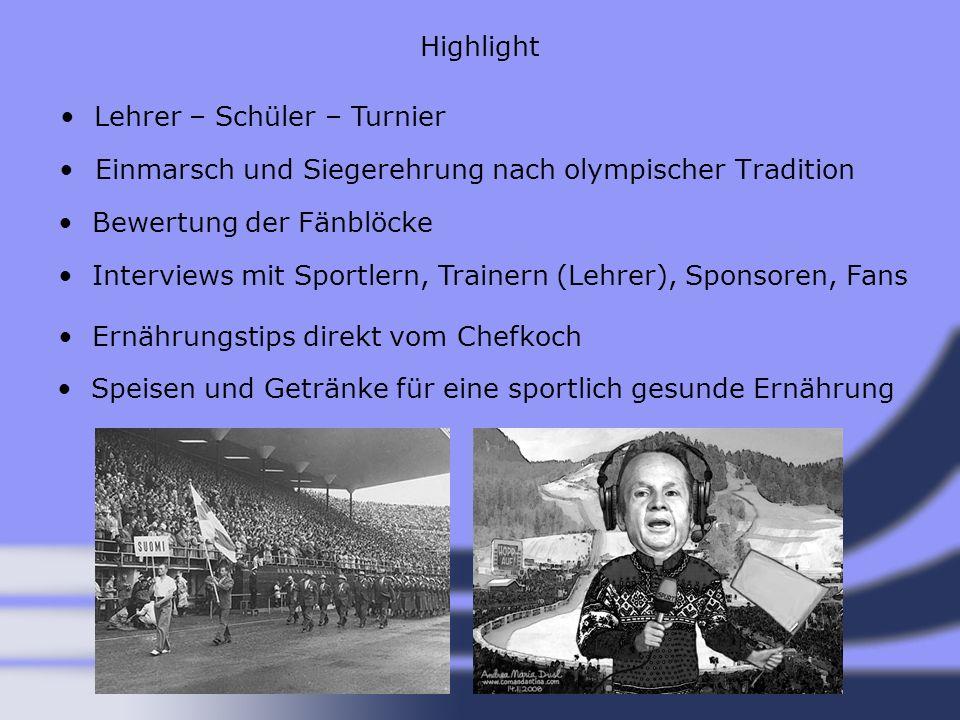 Highlight Lehrer – Schüler – Turnier. Einmarsch und Siegerehrung nach olympischer Tradition. Bewertung der Fänblöcke.