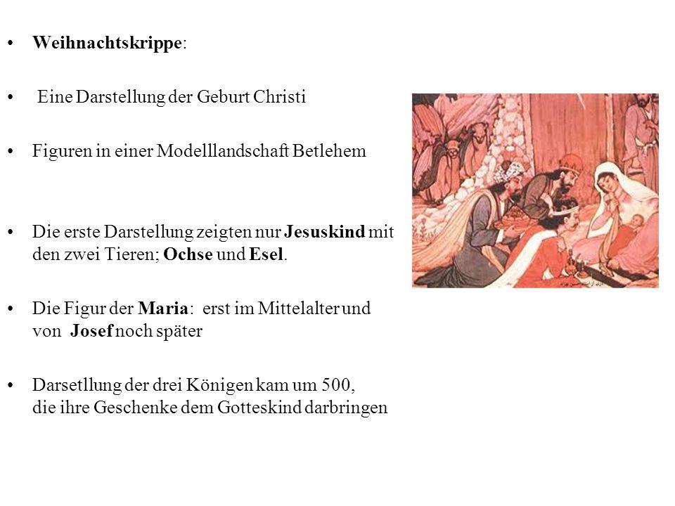 Weihnachtskrippe: Eine Darstellung der Geburt Christi Figuren in einer Modelllandschaft Betlehem.