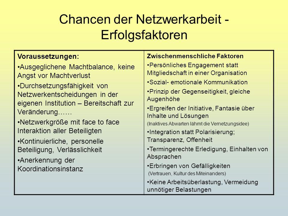 Chancen der Netzwerkarbeit - Erfolgsfaktoren