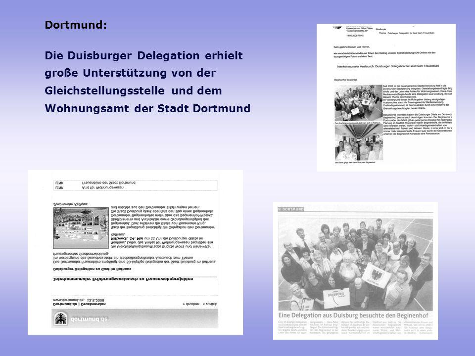 Dortmund: Die Duisburger Delegation erhielt. große Unterstützung von der. Gleichstellungsstelle und dem.