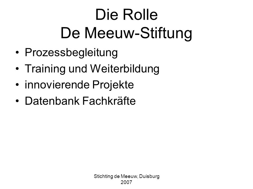 Die Rolle De Meeuw-Stiftung