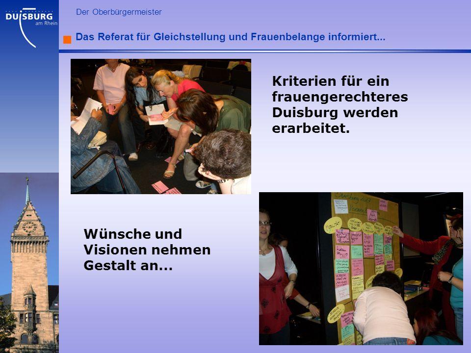 Kriterien für ein frauengerechteres Duisburg werden erarbeitet.