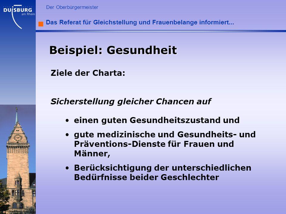 Beispiel: Gesundheit Ziele der Charta: