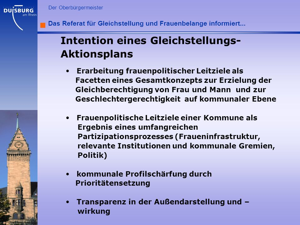 Intention eines Gleichstellungs-Aktionsplans