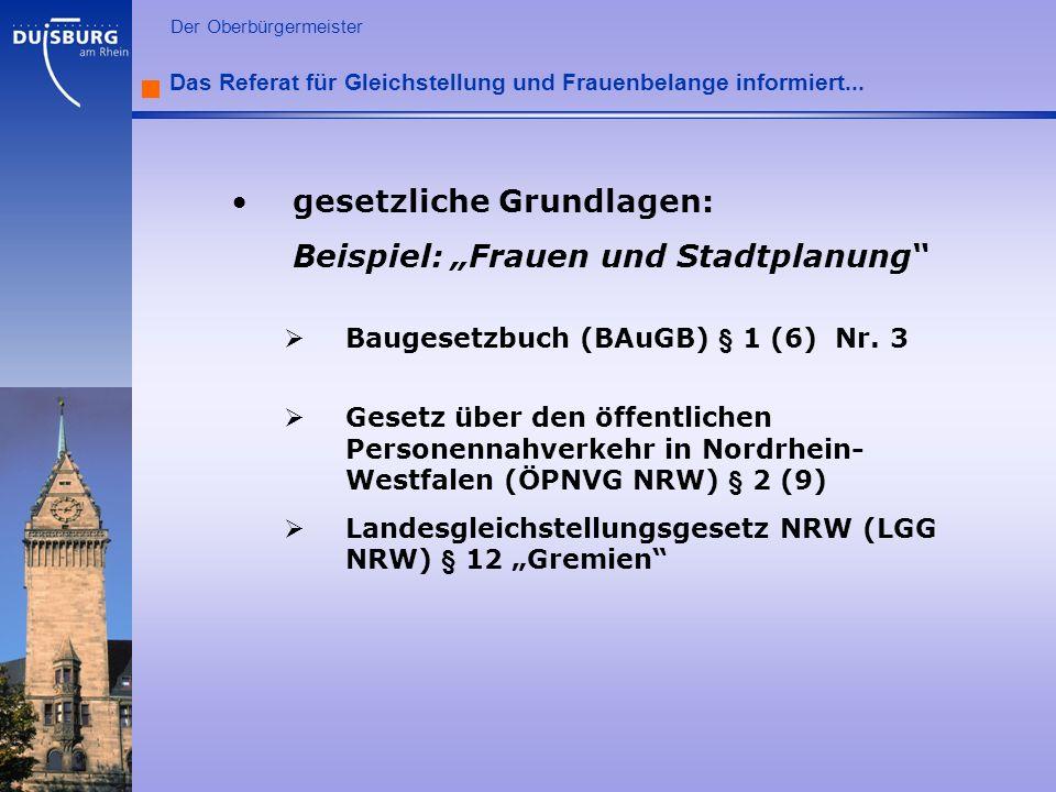 """gesetzliche Grundlagen: Beispiel: """"Frauen und Stadtplanung"""