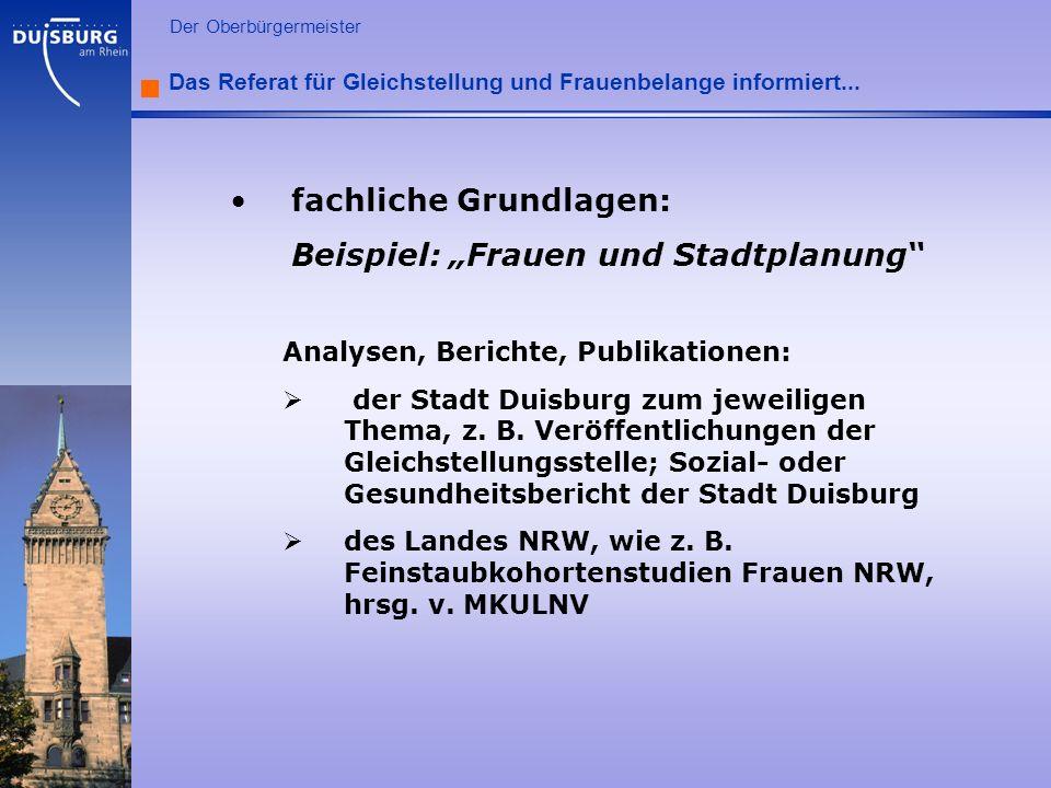 """fachliche Grundlagen: Beispiel: """"Frauen und Stadtplanung"""