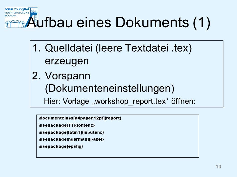 Aufbau eines Dokuments (1)