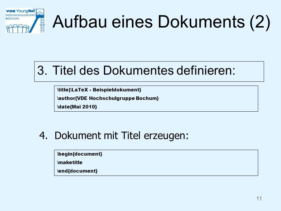 Aufbau eines Dokuments (2)