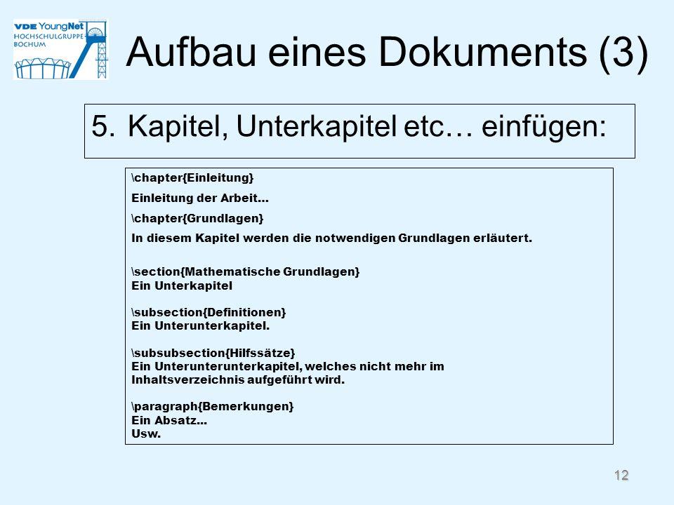 Aufbau eines Dokuments (3)