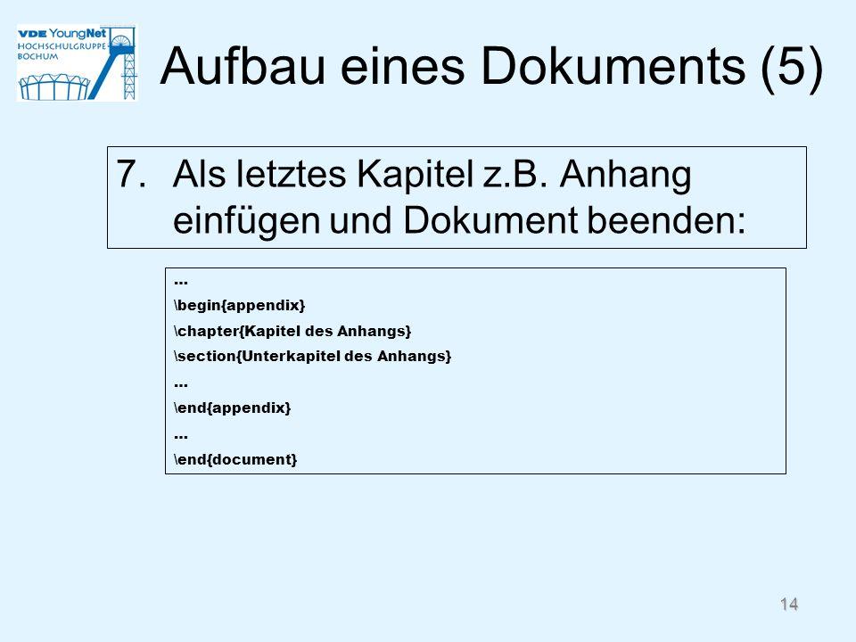 Aufbau eines Dokuments (5)