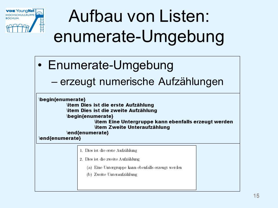 Aufbau von Listen: enumerate-Umgebung