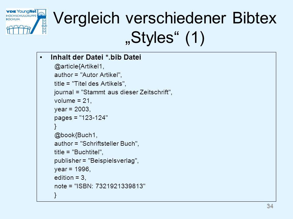 """Vergleich verschiedener Bibtex """"Styles (1)"""