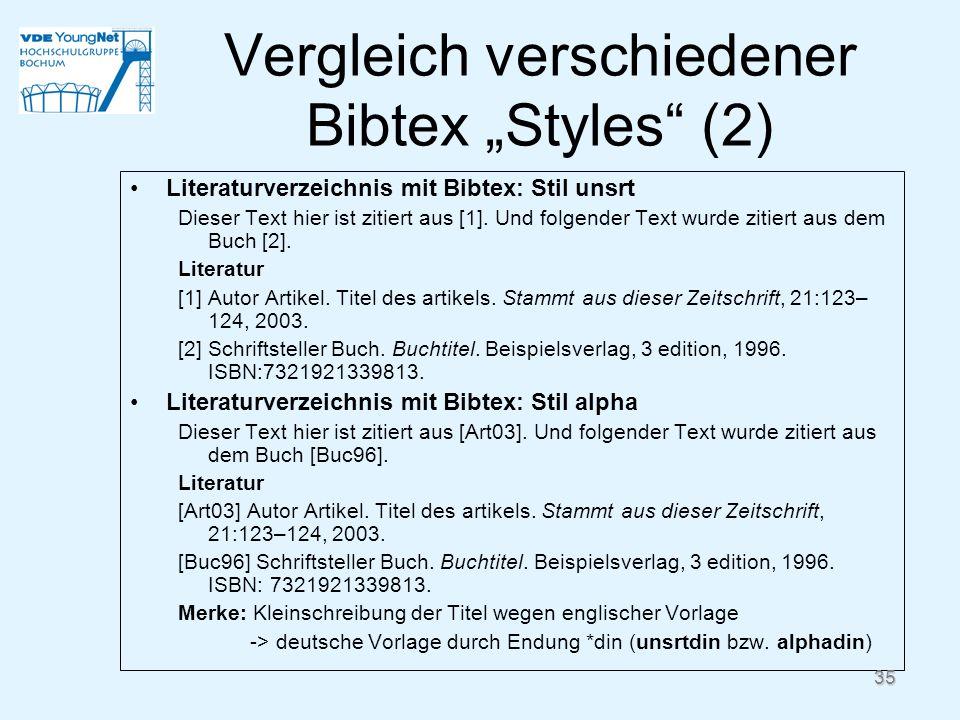 """Vergleich verschiedener Bibtex """"Styles (2)"""