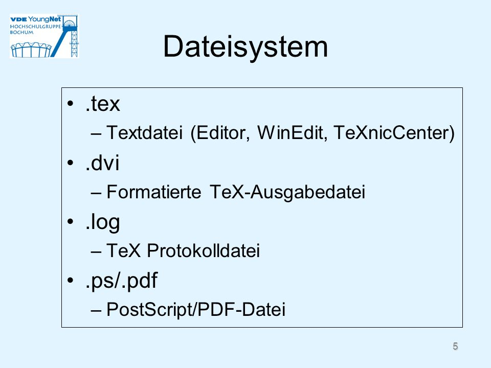 Dateisystem .tex .dvi .log .ps/.pdf