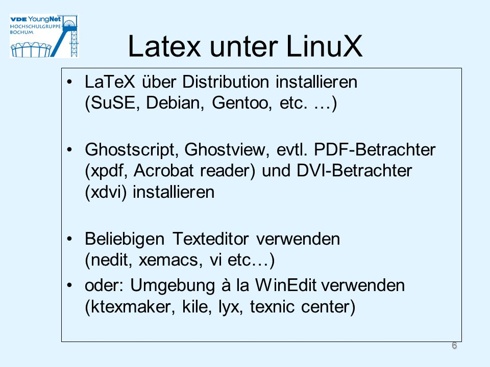 Latex unter LinuX LaTeX über Distribution installieren (SuSE, Debian, Gentoo, etc. …)