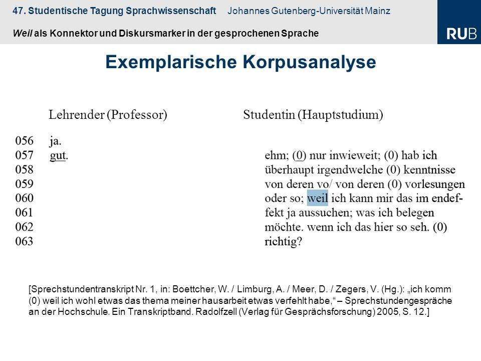 Exemplarische Korpusanalyse