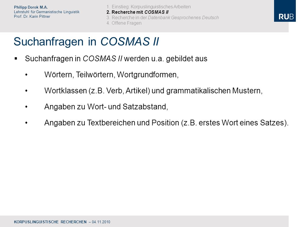 Suchanfragen in COSMAS II