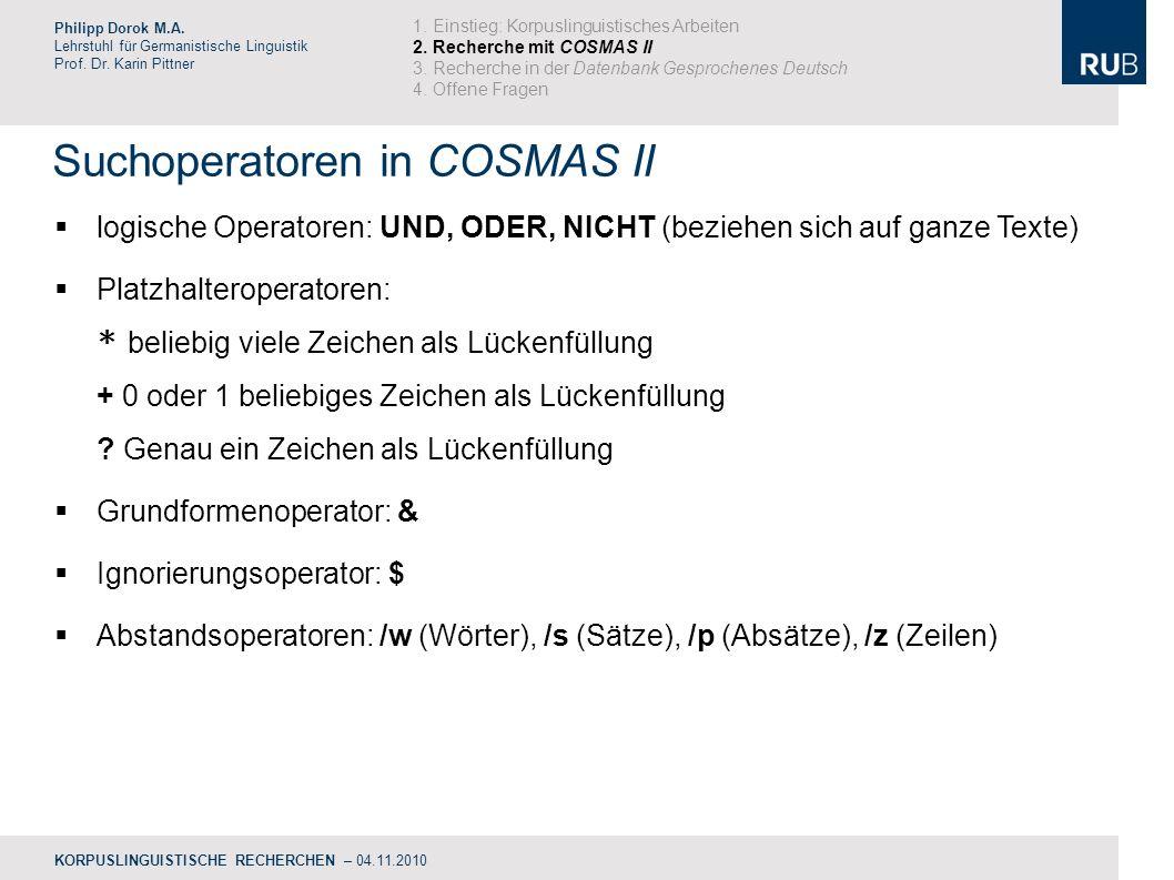 Suchoperatoren in COSMAS II