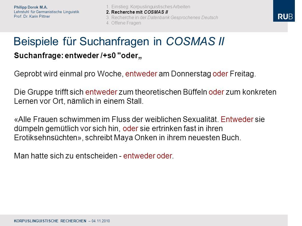 Beispiele für Suchanfragen in COSMAS II