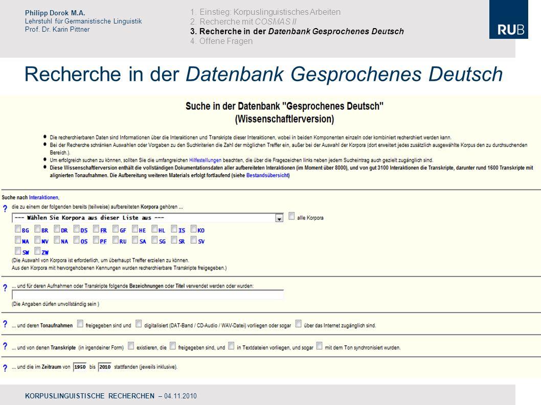 Recherche in der Datenbank Gesprochenes Deutsch