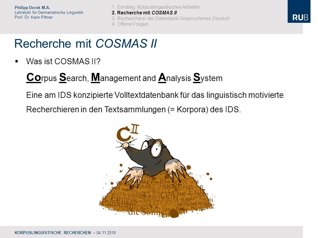 Recherche mit COSMAS II