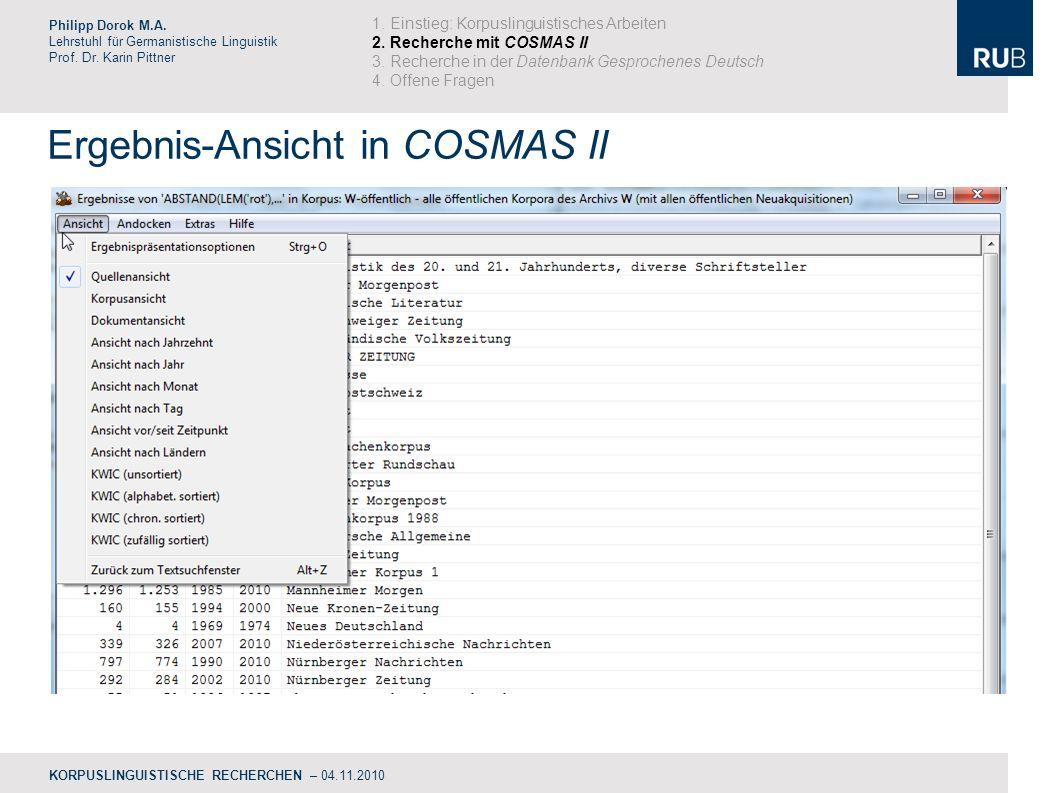 Ergebnis-Ansicht in COSMAS II