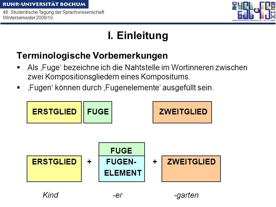 I. Einleitung Terminologische Vorbemerkungen